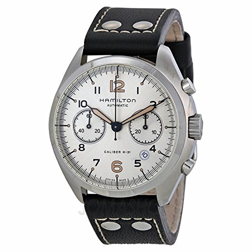 Hamilton Hamilton Khaki Pilot Pioneer Automatic Chronograph Ivory Dial Black Leather Mens Watch h76416755