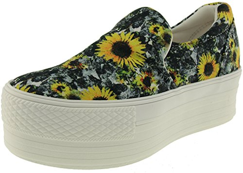 Maxstar C50 Spandex Low-Top Plattform Canvas Slip On Sneakers Gogh-Yellow
