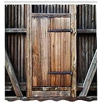 ABAKUHAUS Antigüedad Cortina de Baño, Puerta de Madera Rústica Antigua Desgastada Fachada Exterior Rural Granero