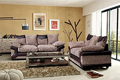 New Chicago Sofas 3 + 2 Seater Set in Fabric Scatter Back Brown & Mocha by New York Sofa Company