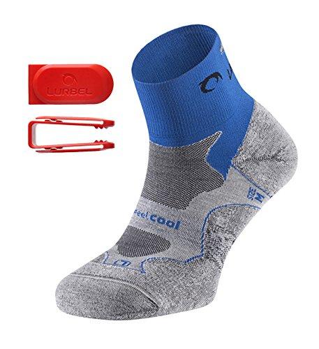 Lurbel Distance Kurze Premium Laufsocken/Sportsocken, für Damen & Herren, antibakteriell, atmungsaktiv, mit Polsterung und Blasenschutz (Blau/Grau, 39-42/ Medium)