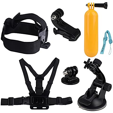 Quimat MH03 Sports Camera Accessory Bundle Kits For Gopro Hero ANATR Sports Camera - Head Strap Chest Belt Folating Mount & Auto Suction Cup - Auto Window Mount