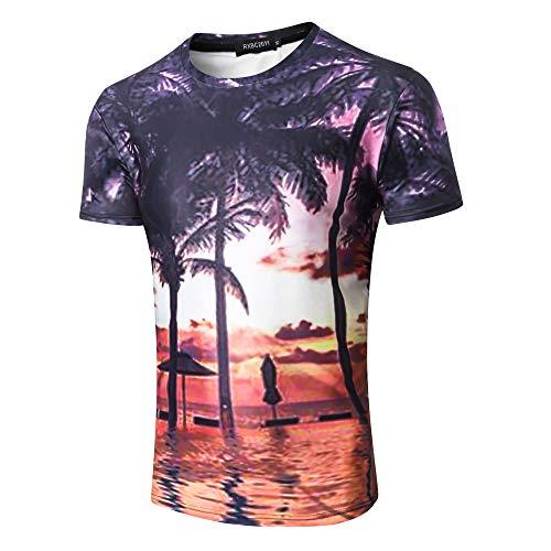 Herren T-Shirt Druck Kurzarm Shirt Manschette Basic,Lässiges, kurzärmliges T-Shirt 1 XL mit 3D-Splash-Ink-Druck - Musik Mag Ich T-shirt