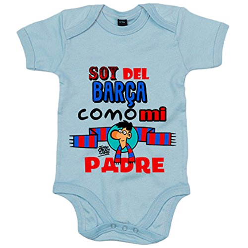 Body bebé soy del Barça como mi padre Jorge Crespo Cano - Celeste, 6-12 meses