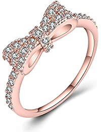 Moneekar Jewels Cute Bow Knot CZ 18k Rose Gold Plated Engagement Promise Rings For Girls Women (Amazon Exclusive)