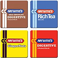 McVitie's Biscuits Digestive, Ginger Nuts, Rich tea and Milk Chocolate Digestives - Set of 4 Coasters