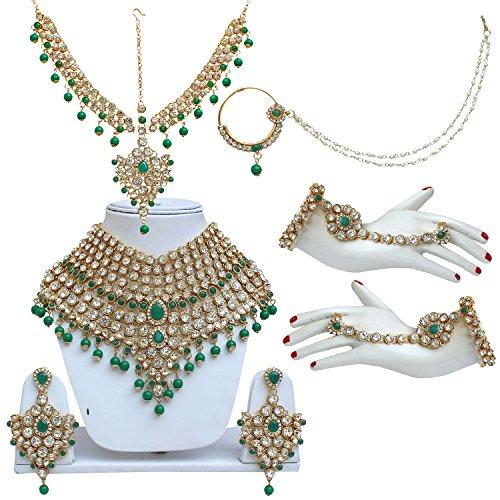 Lucky Jewellery Bridal Light Green Color Dulhan Wedding & Engagement Wedding Set...