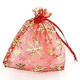 HooAMI 50-STK. 12cm x 16cm Rot Orange Organza Säckchen mit Gelb Schneeflocke Geschenkbeutel Beutel Weihnachten Säckli (Rot) (12cm x16cm)