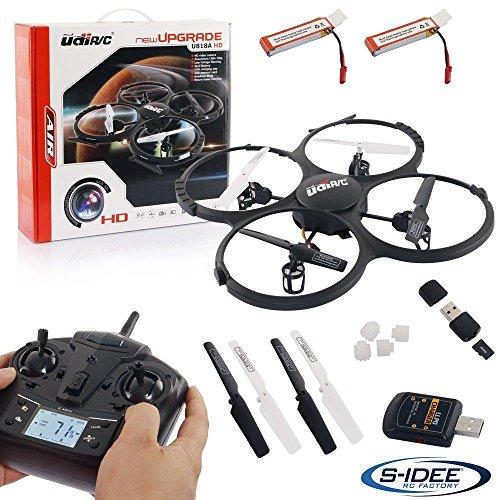 UDI U818A HD UPGRADE- RC UFO mit Akku und Camera – 3D Quadrocopter – Drohne 2,4Ghz – mit 4GB MicroSD Karte (Schwarz mit 2 Akkus)