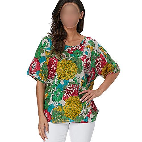 Frauen Tops und Blusen 2019 Neue Ankunfts-Kurzschluss-Hülsen-Sommer-Bluse mit Blumen Casual Shirts drucken, Bild color9, XXL