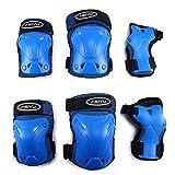 Kinderschutz Ausrüstung Set 6 In 1 Knie Elbow Pads Verstellbare Handgelenk Wächter Kinderschutz Sicherheit Rollerblading Fahrrad-Skateboard,Blue,M