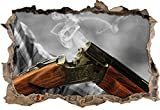 Jagdgewehr nach dem Brand B&W Detail Wanddurchbruch im 3D-Look, Wand- oder Türaufkleber Format: 62x42cm, Wandsticker, Wandtattoo, Wanddekoration