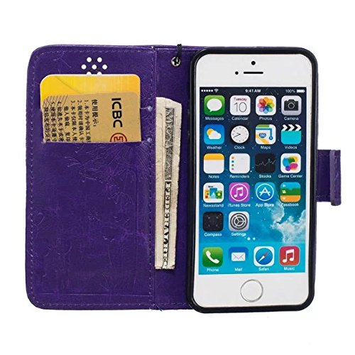 iPhone Case Cover IPhone 5 5S SE Case, de haute qualité Premium PU Housse en cuir Couverture Solid Dandelion Embossing Wallet Stand Case Couverture pour IPhone 5 5S SE ( Color : Pink , Size : IPhone 5 Purple