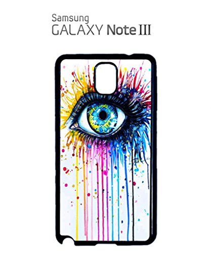 Rainbow Eye Art Drawing Cool Funny Hipster Swag Mobile Phone Case Back Cover Coque Housse Etui Noir Blanc pour for Samsung Note 3 White Blanc