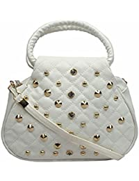 Shiv Women's Faux Shearling Stone Sling Bag (White)