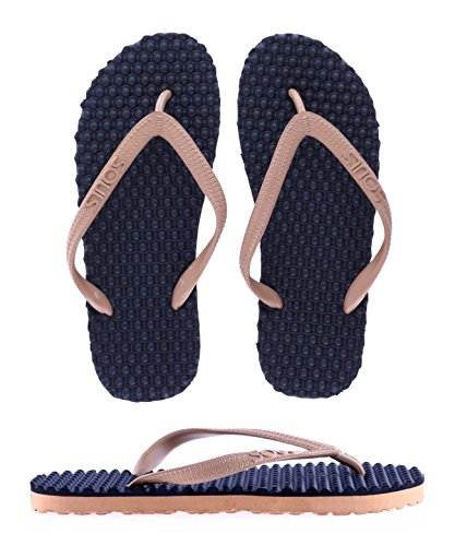 SOULS Australian Thongs Zehentrenner Unisex Original Massage Noppen Sohle 'Tan Road' Sandale Wellness Badeschuhe, Größe:44/45 Tan Thong Sandalen