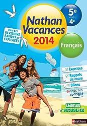 Nathan Vacances Français - De la 5è vers la 4è