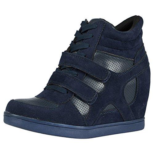 bypublicdemand-thea-womens-hidden-wedge-trainers-5-uk-navy-blue
