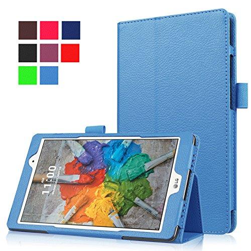 Qiaogle Tablet Case - PU Leder Schutzhülle Case Cover für LG G Pad X 8.0 V521 / LG G Pad 3 8.0 V525 (8 Zoll) - KP02 / Hellblau Klassische Solid Color Geschäfts Art