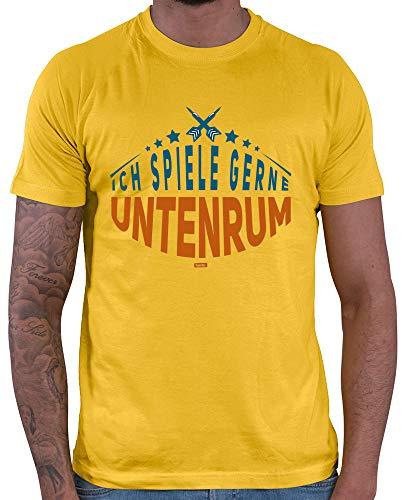 HARIZ  Herren T-Shirt Ich Spiele Gerne Untenrum Dart Sprüche Männer Sport Fun Trikot Inkl. Geschenk Karte Gold Gelb XL