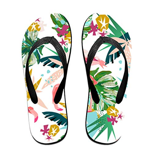 Pink Flamingo Unisex Adults Casual Flip-Flops Sandal Pool Party Slippers Bathroom Flats Open Toed Slide Shoes Large