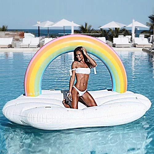 Nwlgl Riesige Outdoor Regenbogen Pool Flöße aufblasbare Spielzeug, Sommer Strand Schwimmbad aufblasbare Floatie Lounge Pool Liegen