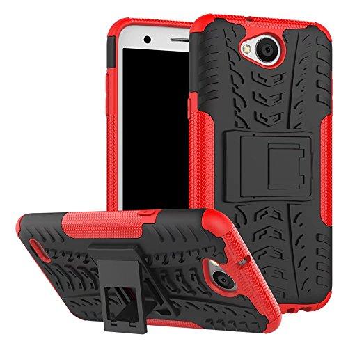 YHUISEN LG X Power 2 Case, Hyun Pattern Dual Layer Hybrid Armor Kickstand 2 In 1 Shockproof Case Cover für LG X Power 2 / LG K10 Power (5,5 Zoll) ( Color : Orange ) Red
