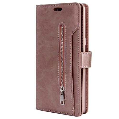 d3ed63d083 Galaxy Note 8 Zipper Leather Case, Samsung Note 8 Wallet Cover, Ekakashop  Pure Color