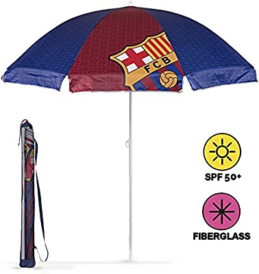 Sombrilla de playa / jardín / mar / terraza. Antiviento – Con estampado de FC Barcelona – Protección contra los rayos UV SPF 50+. Sombrilla Perletti