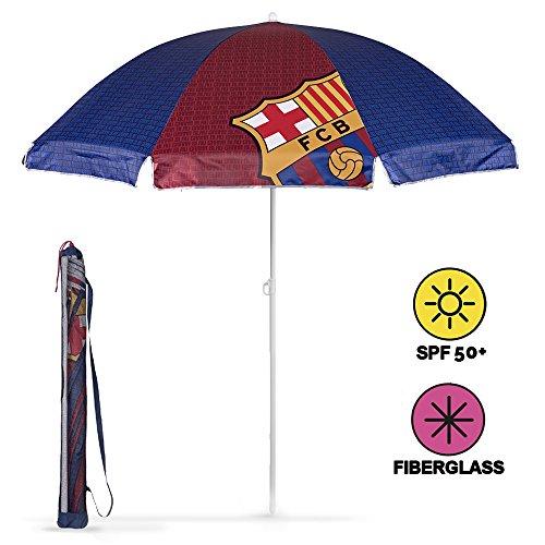 Ombrellone da spiaggia / giardino / mare / terrazza. Antivento – Con stampa FC Barcelona – Protezione dai raggi UV SPF 50+. Ombrellone Perletti