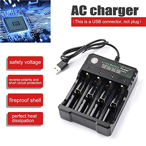 ALIAN 18650 Battery Charger 4-Slot Li-ion Batterys Chargers Player Amplifier USB Charging Stand Rechargeable Multiple Quick Smart