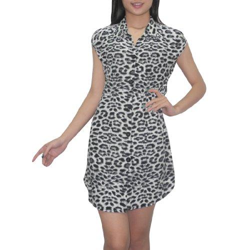 femmes Thai Bouton exotique manches vers le bas Imprimer Blouse animale Haut / Casual Dress Flowing - Gris & Noir Gris & Noir