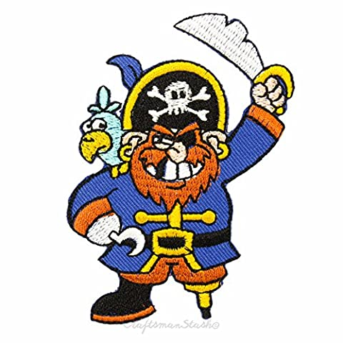 Cartoon 'Captain Blackbeard' Pirates of Caribbean - Easy & Fast Iron on, Sew on Embroidered Patch - Applique, Gift, Collectible, Craft, Motif, Kid Cloth Decoration, Decorative Toy