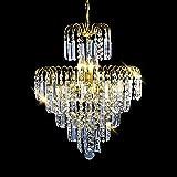 Glighone LED Kristall Kronleuchter Pendelleuchte Modern Deckenleuchte E14 Anhänger Kristallkronleuchter für Küche, Kinderzimmer, Treppenhaus, Esszimmer, Schlafzimmer, Hotelzimmer usw.