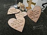 Corazones para recordatorio de fechas (1 muestra), 60 mm, madera, obsequios de corazones, decoraciones de mesa de madera, bodas vintage