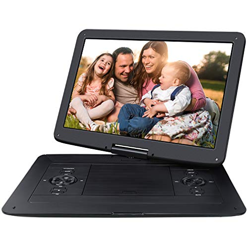 NAVISKAUTO 15,6 Zoll DVD Player HD Tragbarer DVD Player 1366 * 768 6 bis 7 Stdn. Akkudauer 270°Drehbarer Portabler DVD Player Auto Memory SD USB AV IN Out PS1521B (Große Dvd-portable Player)