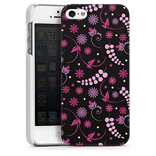 Apple iPhone 5s Housse Étui Protection Coque Petite fleur Fleurs Rose vif CasDur blanc