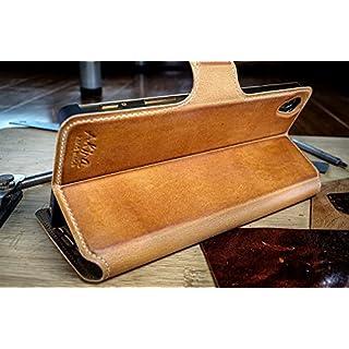 Original Akira Hand Made [Echt Leder] Handyhülle Sony Xperia Z5 Compact Flip Cover Handgemacht Case Schutzhülle Etui Flip Wallet Pen [Deutscher FACHHANDEL] Braun