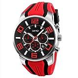 Mode Sport Herrenuhren - Silikon Armband Sub-Dials Chronograph Stoppuhr Analog Datum Quarzuhr Armbanduhren für Männer, Rot