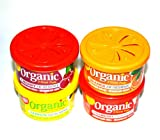 4 Organic Scents Cans for Cars Duftdose Kirsche, Erdbeere, Zitrone, Orange