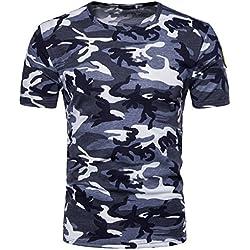 Camiseta Hombre,Longra ★ Camiseta de Camuflaje Hombre Militares Camisetas Deporte Ropa Deportiva Camisa de Manga Corta de Camuflaje Slim fit Casual para Hombres Tops Blusa (Azul, XL)