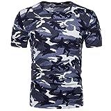 Camiseta Hombre,Longra  Camiseta de Camuflaje Hombre Militares Camisetas Deporte Ropa Deportiva Camisa de Manga Corta de Camuflaje Slim fit Casual para Hombres Tops Blusa (Azul, M)