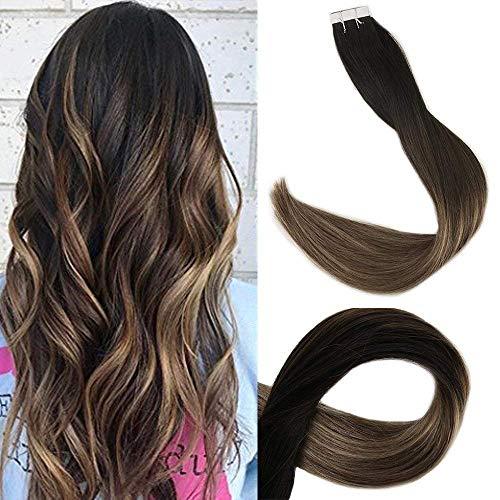 Full Shine 20 Zoll 50cm Band Haarverlängerungen Farbe 1B Fading zu # 6 und # 27 Honigblond Ombre Balayage Echthaar Echthaar 20 Stück 50 Gramm pro Packung