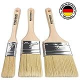 PICTORIS Lasurpinsel Set PREMIUM   100% Made in Germany   3 handgefertigte Malerpinsel für Profis   Kunstfaser-Naturborsten-Mix für ein perfektes Lasurergebnis   Kein Borstenverlust