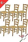 Tommychairs - 6er Set Stühle Venice für Küche und Esszimmer, Robuste Struktur aus lackiertem Buchenholz im Farbton Eiche und Sitzfläche aus Stroh. Set Bestehend aus 6 Stühlen Venice