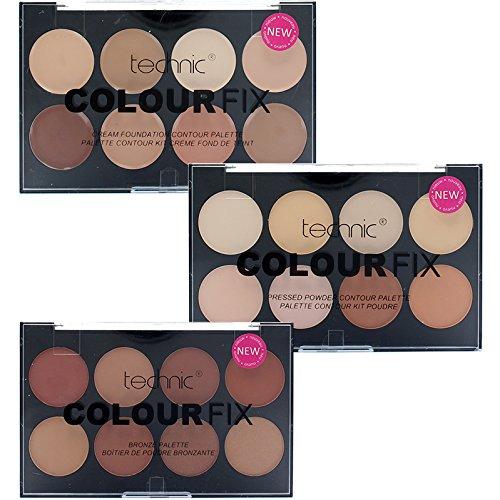 Technic 8 Colour Fix Palette Collection 8 Contour Powder, 8 Cream Foundation & 8 Bronze Powder -