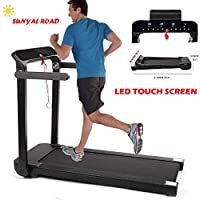 SUNYAL ROAD Electric Folding Treadmill LED Touch Screen with pad holder, 12 programs,easy assembly Treadmill for home