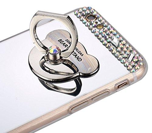 Coque iPhone 7 PLus,iPhone 7 PLus Housse Étui Coque Gel en Silicone,YingC-T Paillette Bling Diamant Brillantes Glitter Strass Miroir Cover Luxe Placage Cristal Clair Housse Bumper Transparent Ultra Mi Argent