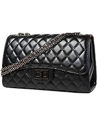 Klassische Kette Gesteppte Umhängetasche Leder Tasche mit Steppmuster Handtasche für Damen
