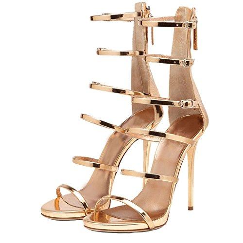 7ece34be75311f EKS Damen Gladiator Thin Straps Stilettos High Heels Elegante Sandalen  Party Sandals Gold ...